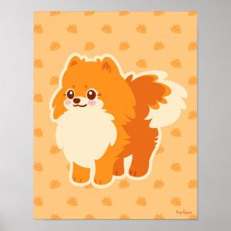 Perro del dibujo animado de Kawaii Pomeranian Póster