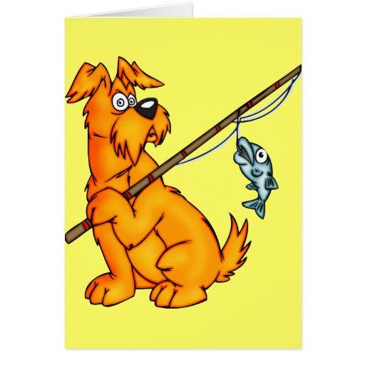 Perro del dibujo animado de la pesca tarjeta de felicitación