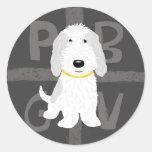 Perro del dibujo animado de PBGV - gris y blanco Etiquetas Redondas