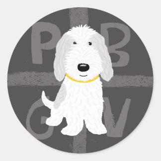 Perro del dibujo animado de PBGV - gris y blanco Pegatina Redonda