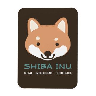 Perro del dibujo animado de Shiba Inu con el texto Rectangle Magnet