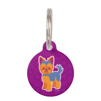 Perro del dibujo animado de Yorkie del pelo corto Placa Para Mascotas