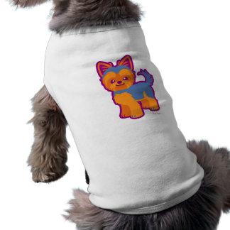 Perro del dibujo animado de Yorkie del pelo corto Playera Sin Mangas Para Perro