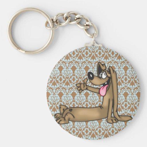 Perro del dibujo animado del Dachshund Llavero Redondo Tipo Pin