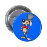 Perro del dibujo animado en sombrero de copa pins