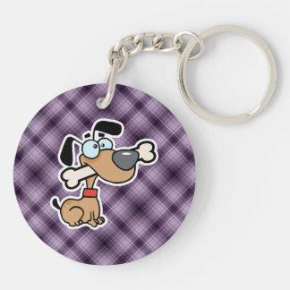 Perro del dibujo animado; Púrpura Llavero