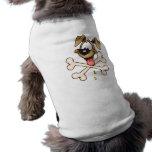 Perro del dibujo animado y sus huesos camisa de perrito