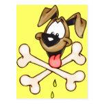 Perro del dibujo animado y sus huesos tarjetas postales