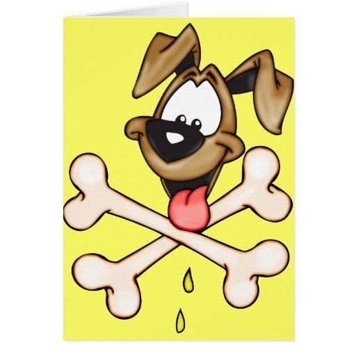 Perro del dibujo animado y sus huesos tarjeton