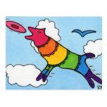 Perro del disco volador del arco iris postal