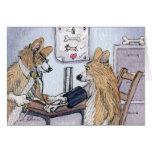 Perro del doctor Galés Corgi que comprueba la pres Tarjeton