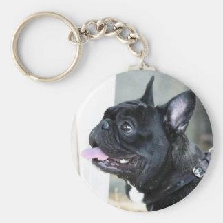 Perro del dogo francés llavero redondo tipo pin