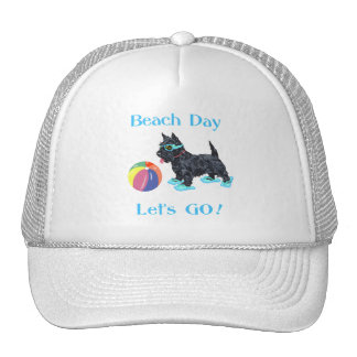 Perro del escocés del día de la playa gorras