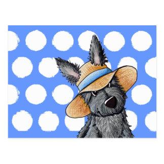 Perro del escocés del gorra de paja postal