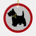 Perro del escocés del navidad de Terrier del Adorno Navideño Redondo De Cerámica