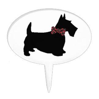 Perro del escocés en pajarita de la tela escocesa figura de tarta