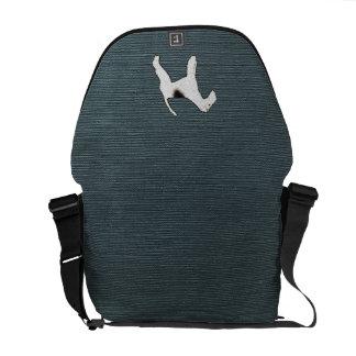 Perro del fox terrier en azul gris bolsa de mensajería