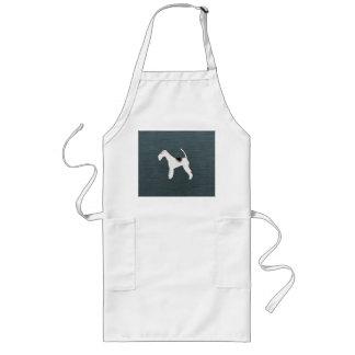 Perro del fox terrier en azul gris delantal largo