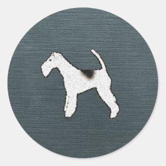 Perro del fox terrier en azul gris pegatinas