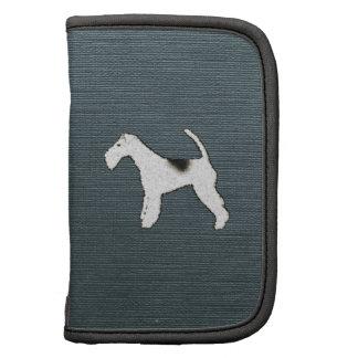 Perro del fox terrier en azul gris organizador