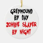Perro del galgo del asesino del zombi adorno de navidad