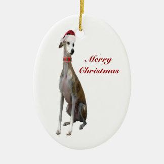 Perro del galgo del navidad en el ornamento del adorno ovalado de cerámica