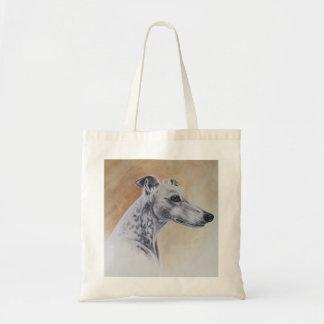 Perro del galgo pintado en Watercolour Bolsa Tela Barata