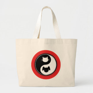 Perro del gato de Yin Yang Bolsa Tela Grande