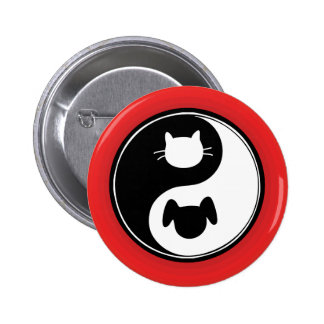 Perro del gato de Yin Yang Pin Redondo De 2 Pulgadas