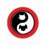 Perro del gato de Yin Yang Postal