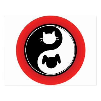 Perro del gato de Yin Yang Tarjeta Postal