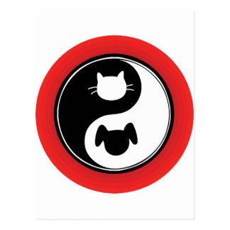Perro del gato de Yin Yang Tarjetas Postales