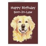 Perro del golden retriever del yerno del cumpleaño tarjeta