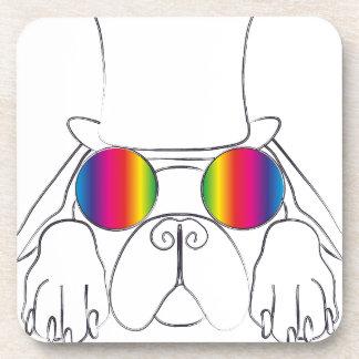 Perro del Hippie del arco iris Posavasos De Bebidas