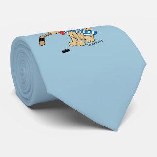 Perro del hockey del dibujo animado corbatas personalizadas