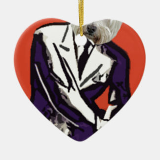 perro del hombre de negocios adorno de cerámica en forma de corazón