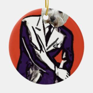 perro del hombre de negocios adorno redondo de cerámica