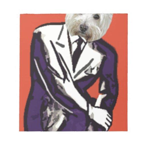 perro del hombre de negocios libreta para notas