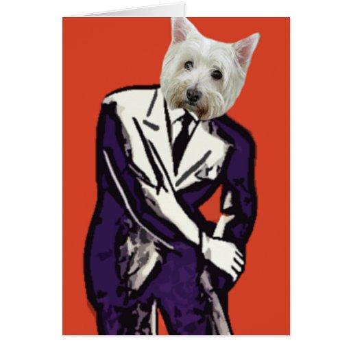 perro del hombre de negocios tarjeta de felicitación