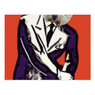 perro del hombre de negocios tarjeta postal