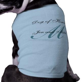 Perro del honor que casa medio azul de la camisa d playera sin mangas para perro
