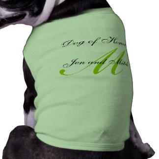 Perro del honor que casa medio verde de la camisa  playera sin mangas para perro