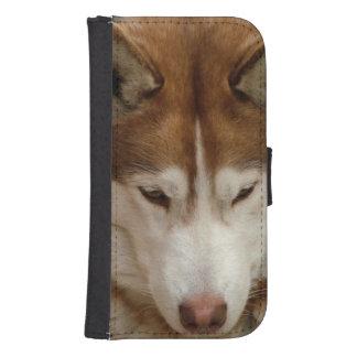 Perro del husky siberiano funda cartera para teléfono