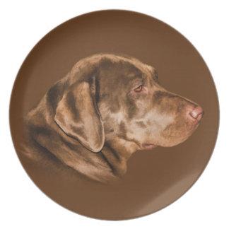Perro del labrador retriever, placa, personalizabl plato para fiesta