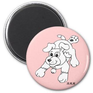 Perro del lápiz de carbón de leña imán redondo 5 cm