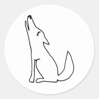 Perro del lobo del coyote que grita - arte del pegatina redonda
