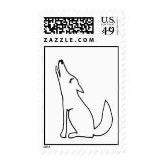 Perro del lobo del coyote que grita - arte del franqueo
