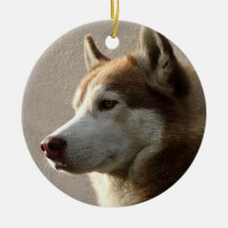 Perro del Malamute de Alaska Adorno Navideño Redondo De Cerámica