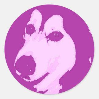 Perro del Malamute Pegatina Redonda