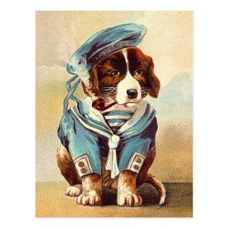 Perro del marinero del vintage postales
